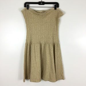 Free People Gold Shimmer Strapless Dress Large